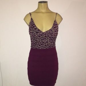 Cheetah purple print body con mini dress